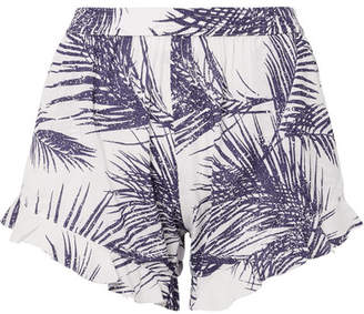 Paradised - Kaya Ruffled Printed Voile Shorts - Grape