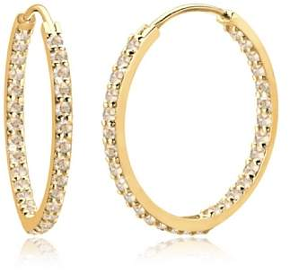 Goldhimmel Women Gold Crystal Hoop Earrings 0302730113