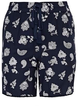 Evans Navy Blue Paisley Print Shorts