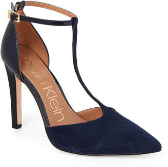 Calvin Klein Dark Navy Brandy T-Strap Pumps