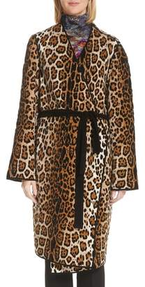 Fuzzi Mixed Leopard Wrap Coat