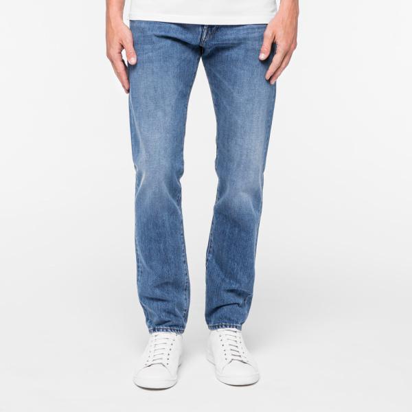Paul SmithMen's Slim-Standard Fit Light-Wash Italian Selvedge Jeans