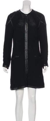 Jean Paul Gaultier Leather-Trimmed Open Knit Cardigan