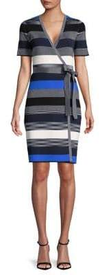 Diane von Furstenberg Short-Sleeve Midi Sweater Wrap Dress