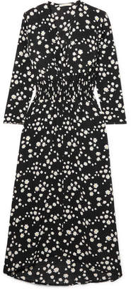 Maje Wrap-effect Floral-print Crepe De Chine Midi Dress - Black