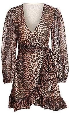a946af4df9c Ganni Women's Leopard Print Mini Wrap Dress