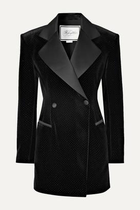 Redemption Satin-trimmed Glittered Velvet Mini Dress - Black