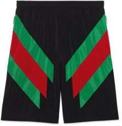 Gucci Nylon shorts with Web intarsia