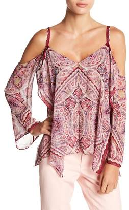 BCBGMAXAZRIA Paisley Cold Shoulder Blouse