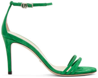 Gucci Green Suede Isle Heeled Sandals