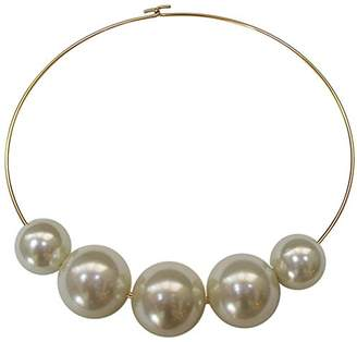 Kenneth Jay Lane 5 Cultured Graduated Beads on Gold Tone Collar Wire Necklace