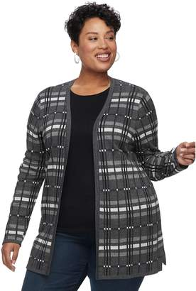 Croft & Barrow Plus Size Geometric Extra Cozy Cardigan