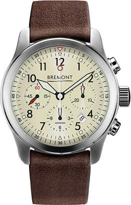 Bremont T1084082203700 ALT1-P2 stainless steel chronograph leather strap watch