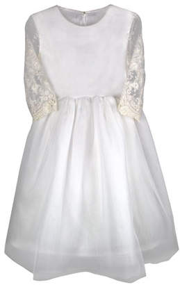 Isabel Garreton Lovely Tulle Lace-Sleeves Dress, Size 6-8