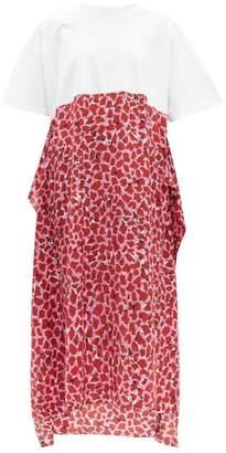 Raey Lipstick Print Silk And Cotton T Shirt Dress - Womens - Pink Print