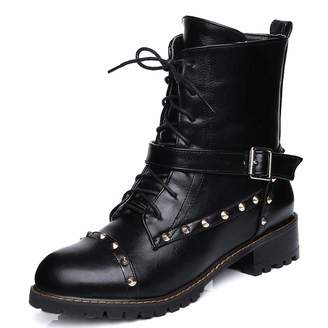 56fc9bc808ea DoraTasia Women  s Round Toe Lace up Rivet Ankle Boots Buckle Ankle Cuff  Low Heel