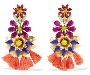Elizabeth Cole Gold-Plated Crystal And Tassel Earrings