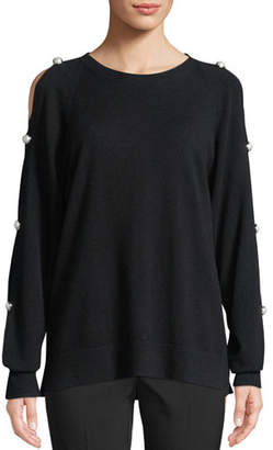 Michael Kors Cold-Shoulder Cashmere Pullover with Pearlescent Buttons