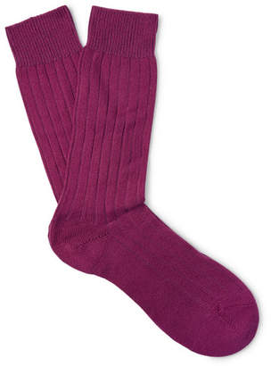 Pantherella Waddington Ribbed Cashmere-Blend Socks - Men - Violet