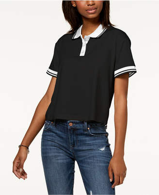 Almost Famous Juniors' Striped Contrast Polo