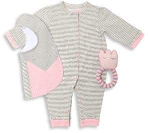 Oliver & Adelaide Baby Girl's Three-Piece Ruffle Coverall, Flower Bib& Crochet Teether Cotton Gift Set
