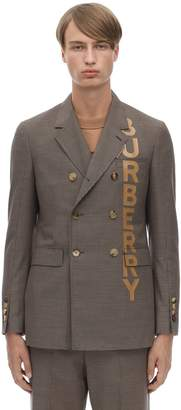 Burberry Logo Print Tailored Wool Blend Blazer
