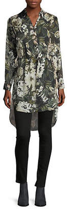 INC International Concepts Floral-Print Hi-Lo Shirt Dress