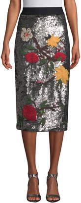 Alice + Olivia Women's Ella Embellished Straight Midi Skirt