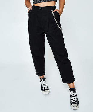 Neon Hart Pleat Front Crop Pant Black