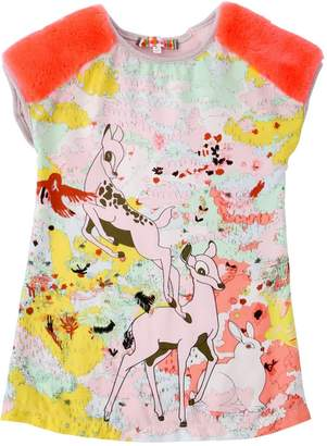 Fawn Printed Satin And Jersey Dress