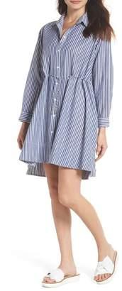 French Connection Tatus Stripe Drawstring Cotton Shirtdress