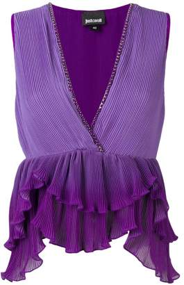 Just Cavalli purple ruffled top