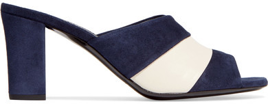 Jil Sander Jil Sander - Leather-paneled Suede Mules - Midnight blue