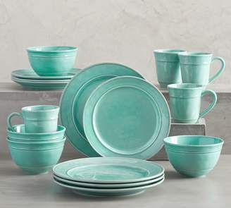 Pottery Barn Cambria 16-Piece Dinnerware Set - Turquoise Blue