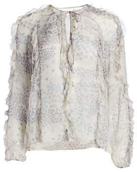 RED Valentino Cascading Star Silk Blouse