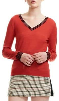 Maje Merino Wool Striped Trim Sweater