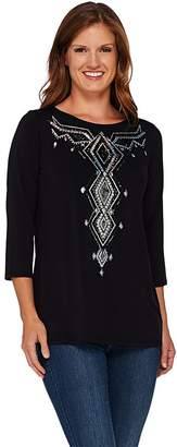 Bob Mackie Bob Mackie's 3/4 Sleeve Sequin Front Jersey Knit Top