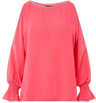 Dorothy Perkins Womens Pink Embellished Split Sleeve Top