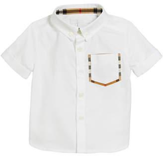 Burberry Harry Short-Sleeve Check-Trim Pocket Shirt, Size 6M-2