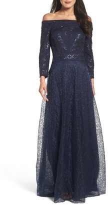 Women's Tadashi Shoji Sequin Embroidered Tulle Off The Shoulder Gown $548 thestylecure.com