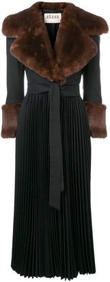 Awake faux fur cuff pleated coat
