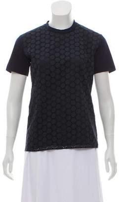 Prada Eyelet Crewneck T-Shirt
