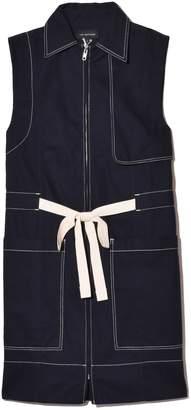 Lee Mathews Bonnie Drill Sleeveless Vest in Navy