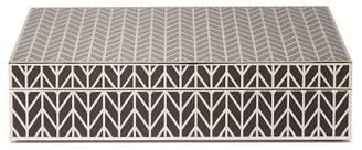 L'OBJET L'Objet Lobjet - Chevron Engraved Platinum Plated Rectangular Box - Silver Multi
