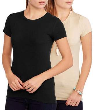 Faded Glory Women's Essential Short Sleeve Crewneck Tee 2-Pack Value Bundle