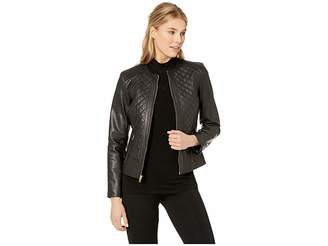 Cole Haan Jewel Neck Zip Front Multi Quilted Jacket with Zipper Pockets