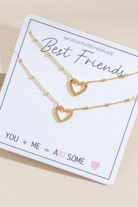 francesca's Best Friend Heart Pendant Necklaces - Gold