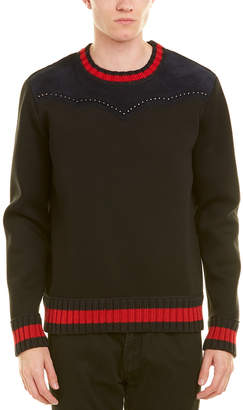 Gucci Suede-Trim Crewneck Sweater