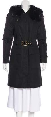 Gucci Fur-Trimmed Knee-Length Coat