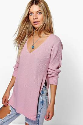 boohoo Emilia V Neck Side Split Tunic Jumper